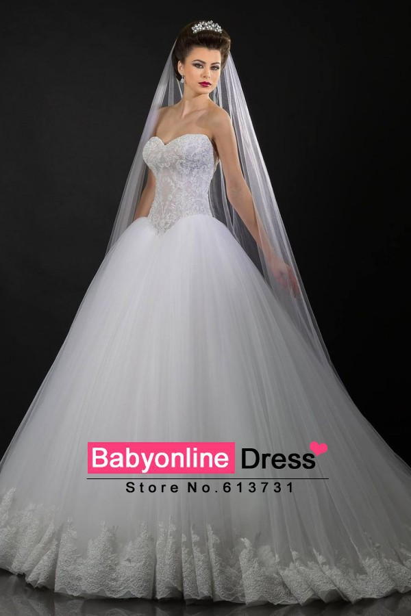 Sweetheart Tulle Lace Ball Gown Wedding Dresses Princess Bridal Gowns ...
