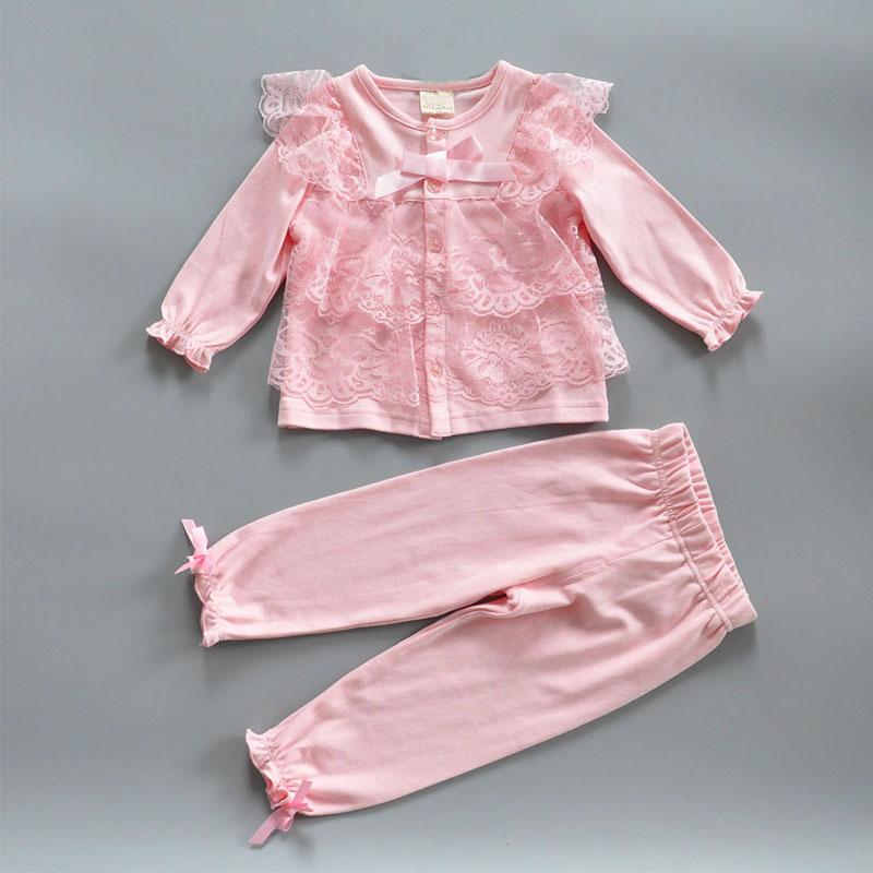Spring Baby Girls Clothes Long Sleeve Bud silk T-Shirt + Legging bowknot Pants Toddler Girls Set Babies lace Suit(China (Mainland))