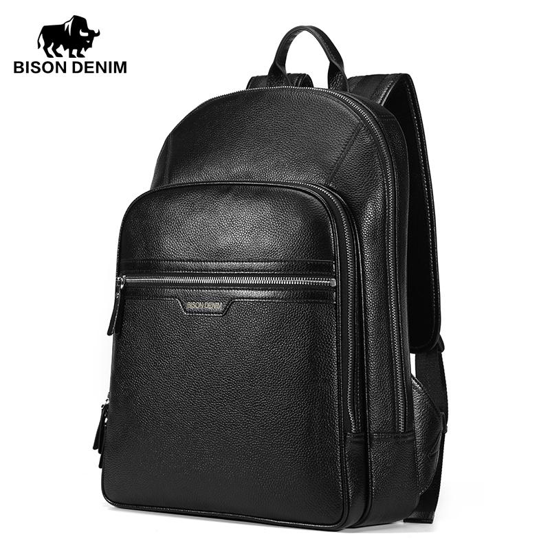 Фотография BISON DENIM Popular 2016 High Quality Genuine Leather Large Backpack Men Laptop Bag Daypack black business ipad travel bag