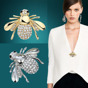 Fashion Rhinestone Brooch Accessories Jewelry Lovely Alloy Bee Brooches Pins G4R2C - Dreamland Store store