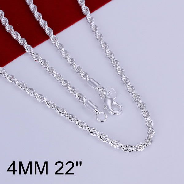 XLN067-22 Wholesale silver plated Necklace, Factory price 925 stamped fashion jewelry Shine Twisted Line 4mm 22 inches(China (Mainland))