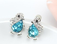 Free Shipping - The best gift Austria crystal cute penguins Earrings sweet girls(China (Mainland))