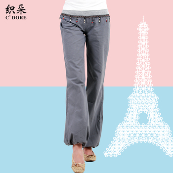 free shipping White bohemia national trend beaded casual pants trousers loose bloomers female trousers plus size summer