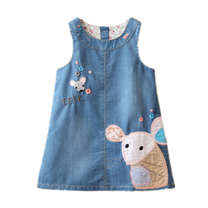 fall denim vest dress mouse embroidery