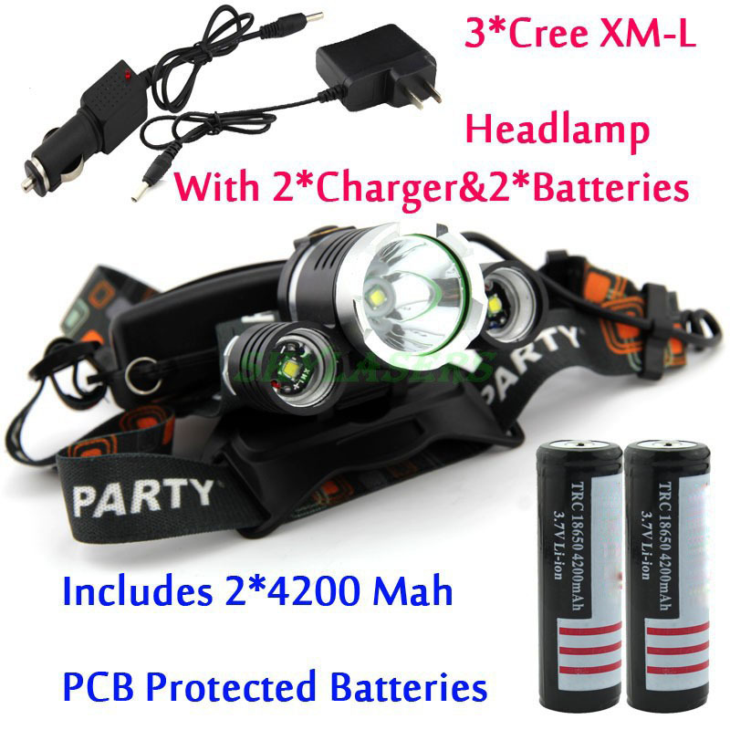 Big Sale! 3 x CREE XM-L XML T6 LED 5000LM Headlight Light Head lamp + 2 * PCB Protected 4200Mah 18650 batteries + 2 * Charger(China (Mainland))