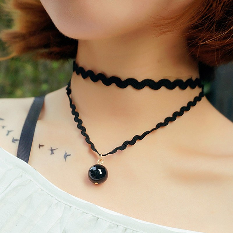 N706-90-s-Chokers-Necklaces-For-Women-Black-Simulated-Pearl-Double-Layer-Short-Collares-Fashion-Jewelry