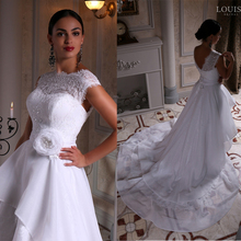 Buy Unequal Lace Appliques Short Front Long Back Wedding Dress High Neck 2016 Cap Sleeves Bridal Gown Sexy vestidos de noiva LBB5 for $186.83 in AliExpress store