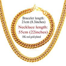 U7 neue afrikanische schmuck-set halskette set großhandel hiphop 9mm breite kubanischen kette männer halskette armband ethiopian schmuck sets s843(China)
