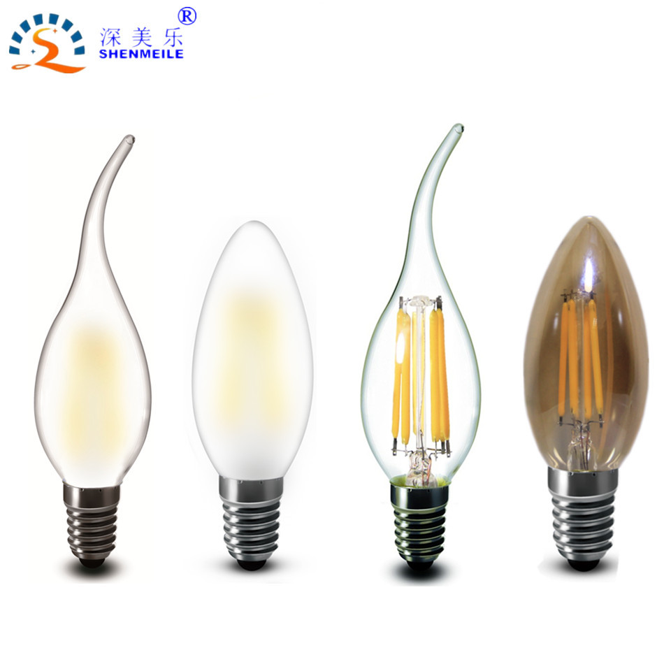 1Pcs Shenzhen C35 E14 E12 2w 4w 6w Frosted Clear Amber glass Bent Tip Bullet Top Led Candle Filament Lamp Bulb light 110v 220v(China (Mainland))