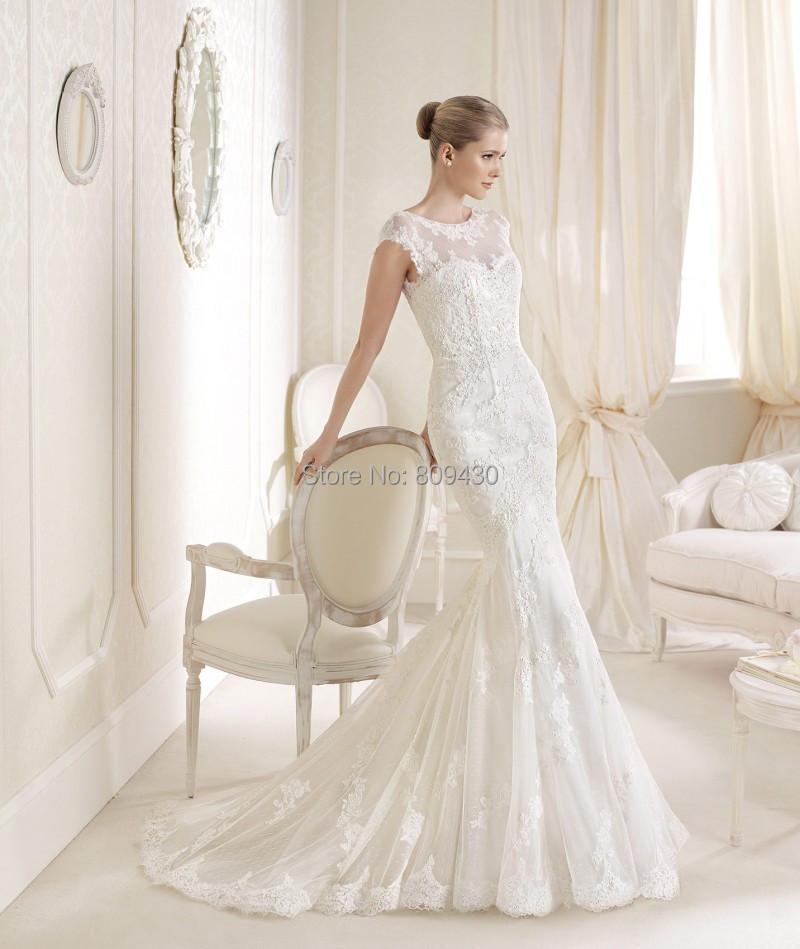 Style idalis bride dresses Mermaid Cap sleeve embroidery lace white vintage transparent neckline vestido de novias wedding - Bride&Fashion Wedding Dress Boutique store