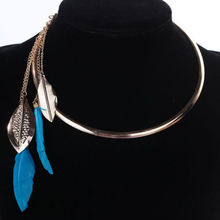 Buy Fashion Feather Pendant Necklace Women Jewelry Round Gold Color Punk Choker Metal Necklace Bib Collar Statement Jewelry Gift for $2.14 in AliExpress store