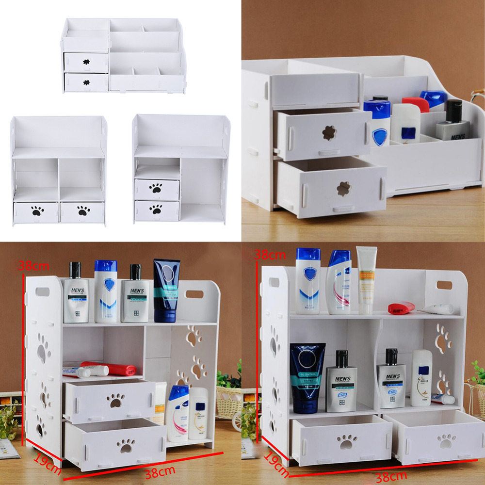3 Styles DIY Removable Makeup Cosmetic Organizer Storage Box Dresser Desk Srorage Box Bathroom Waterproof(China (Mainland))