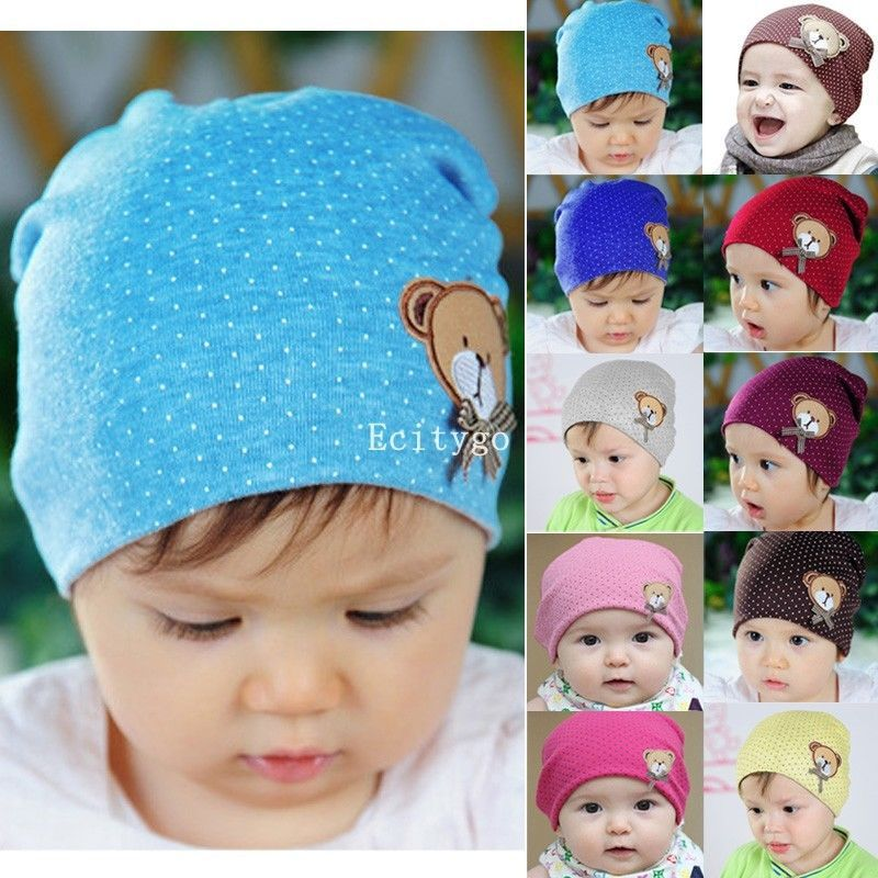 High Quality New Unisex Newborn Baby Boy Girl Toddler Infant Cotton Beanie Soft Bear Polka Dot Cute Hat Cap 10 Color(China (Mainland))