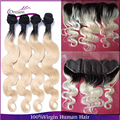 Brazilian Virgin Hair With 13x4 Lace Frontal Body Wave 4pcs 1 Human Hair Bundles With Frontal