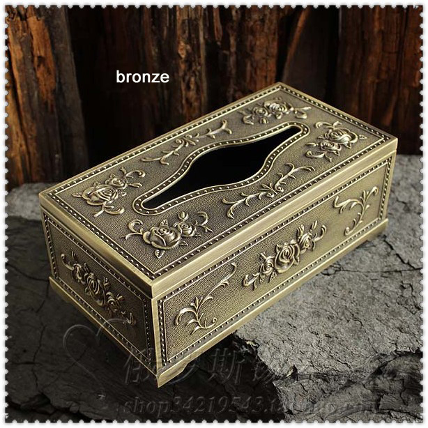 classic embossed rose tin alloy metal rectangle tissue box napkin toilet paper dispenser storage case table decoration 958A(China (Mainland))