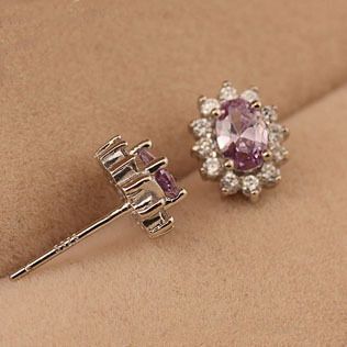 100% 925 Sterling Silver Jewelry Amethyst Multi- Female Silver Earrings Stud Earrings 2 Colors Free Shipping