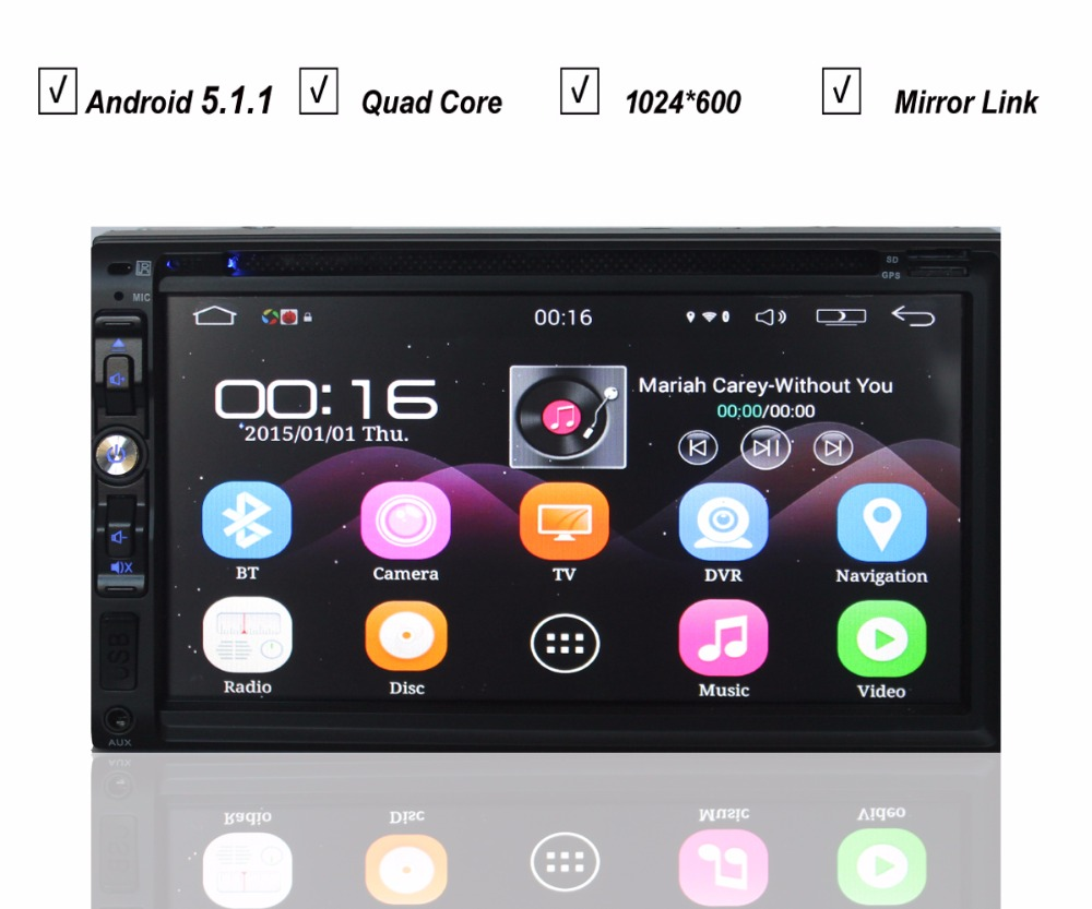 2 Double Din Universal Car Android 5.1 DVD Player Navigation Radio Bluetooth Wifi Google market 8GB Map 1024*600(Hong Kong)