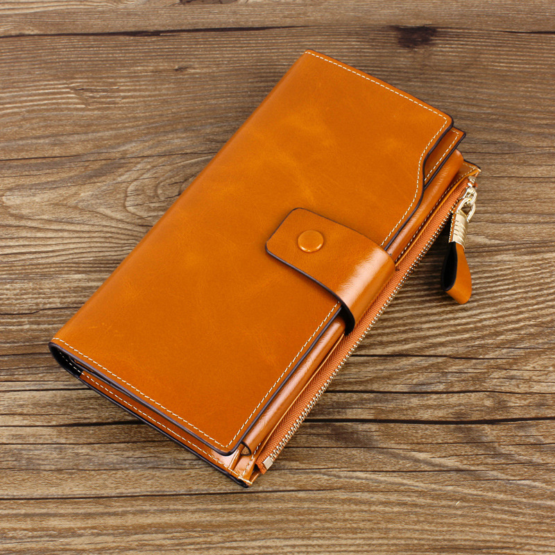Hot Sale High Quality Genuine Cow Leather Women Wallets Card Holders Billeteras 2016 Fashion Long Design Clutch Bag Ladies Purse(China (Mainland))