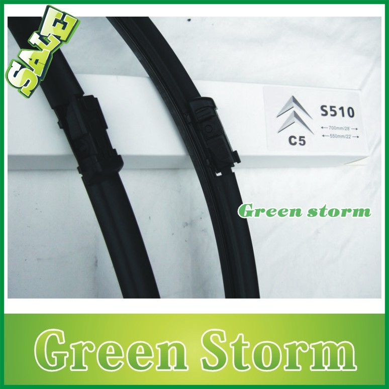 (2pcs/Pair) car wiper blades Citroen C5 soft silicone Rubber WindShield Wiper Blade Arm - Green Storm Automobile Products co., LTD store