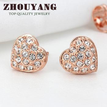 Top Quality Golden Heart 18K Rose Gold Plated Stud Earrings Jewelry   Austrian Crystal Wholesale ZYE011 ZYE012