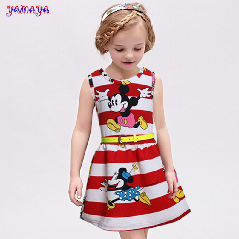 Free shipping new 2015 spring summer girl dress free belt baby dress baby clothing girls dresses minnie dress clothes for 2-7Y(China (Mainland))