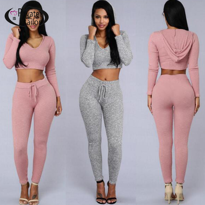 2016 Best seller Fashion Gray Women Hooded Tracksuits Long Sleeve Crop Top + leggings Tight Fitted Bodycon Jumpsuit Pink Rompers(China (Mainland))