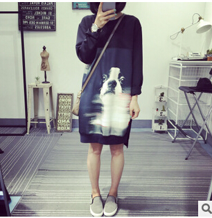 2015 New winter women Loose big yards printing guard dog dress Long section of Hedging casual Long-sleeved(China (Mainland))