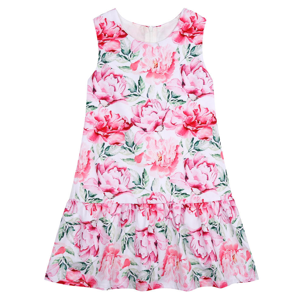 Summer 2016 Girls Dress Flower Print Dresses For Girls Party Princess Dress Kids Clothes Children Costumes 3-10Y(China (Mainland))