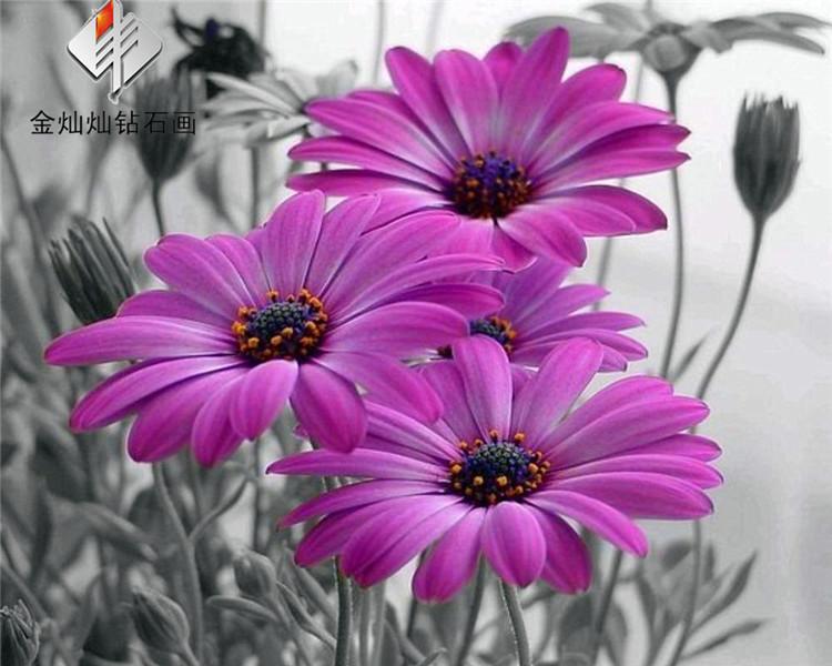 3D Diy Diamond Painting Purple flowers Embroidery Needlework Decoration Mosaic Fabric Cross Stitch Handicraft