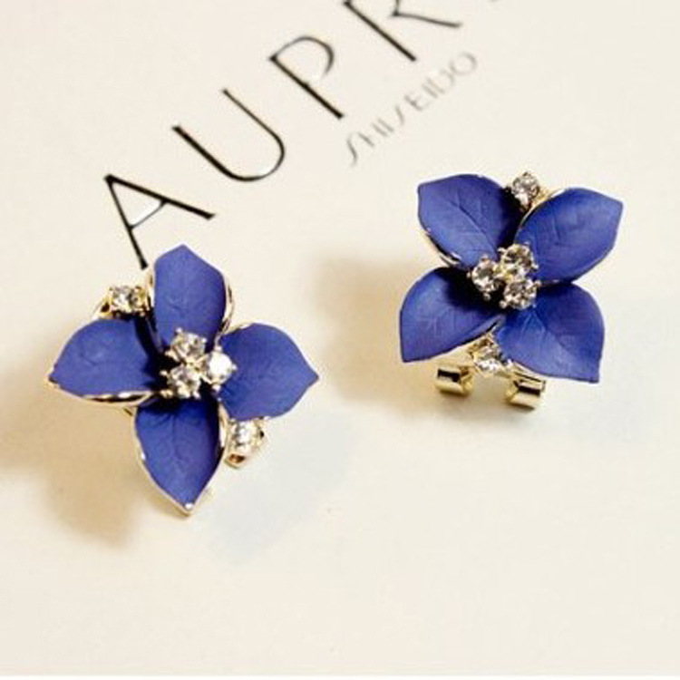 2015 Noble Blue Ladies Crystal Stud Earrings 18K Gold Plated Camellia Flowers Rhinestone Women - Fashion Leader Home store