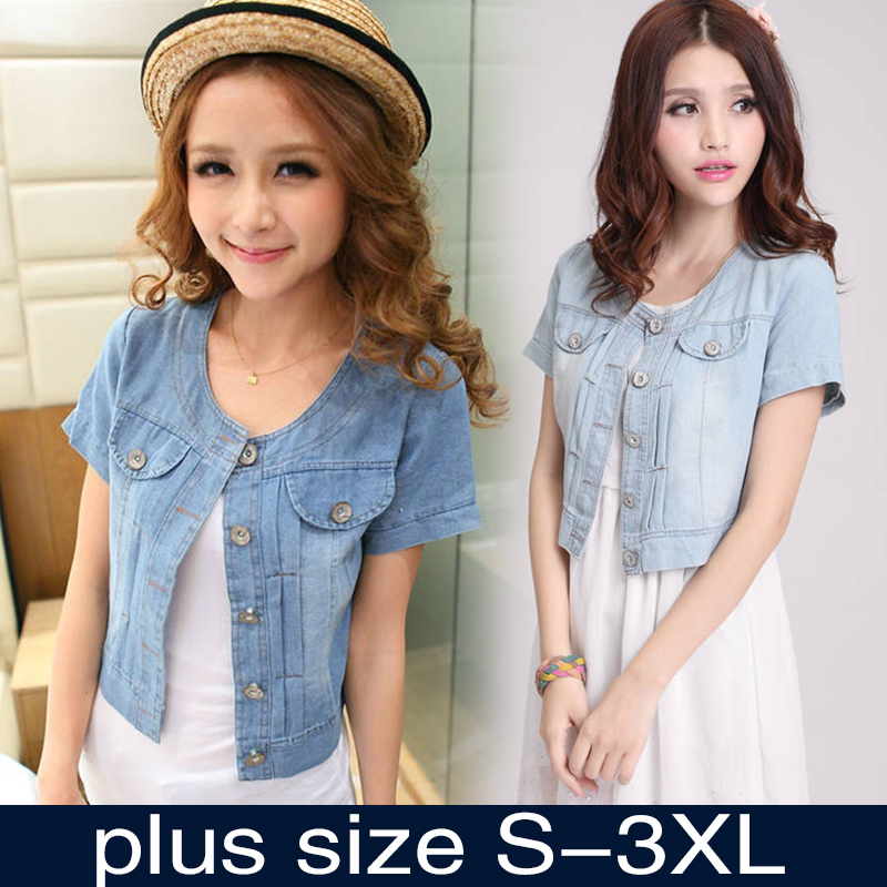 Free shipping 2015 New Fashion Women Round Neck Short Denim Jean Jacket Coat Half Sleeve Button S M L XL XXL 3XL(China (Mainland))
