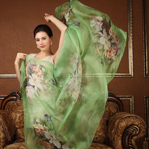 100% pure silk scarf shawl wrap hijab for Women Long style floral calla design scarves super big 180x110CM Summer Beach towel(China (Mainland))