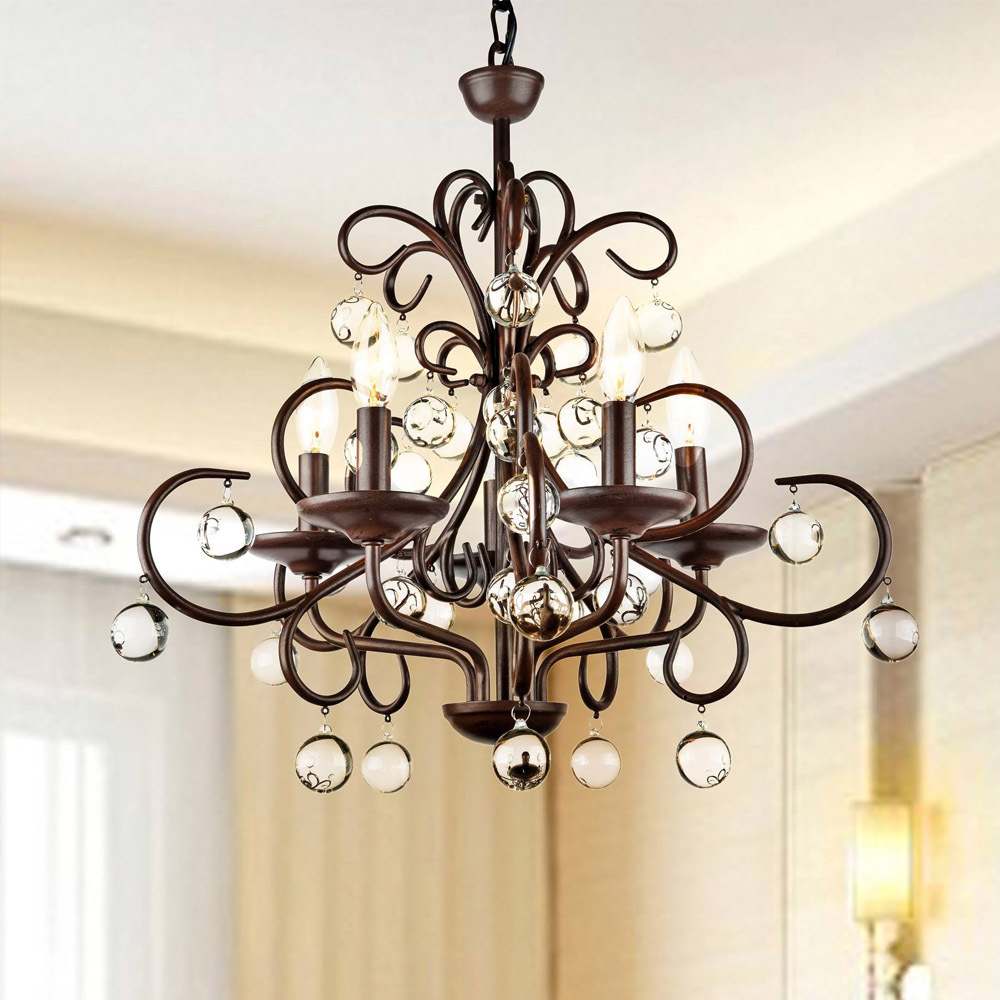 Elegant american country vintage wrought iron pendant light crystal k9 candle fixture lighting - Wrought iron indoor decor classy elegance ...