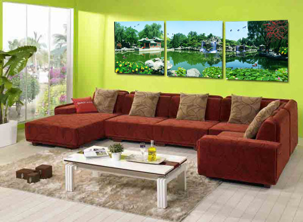 hot Hot Sell Free shipping Traditional Chinese Garden Landscape Wall Painting Home Decoration Paint on Canvas Each 50x50cm YM-9(China (Mainland))