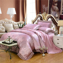 4Pcs Golden White Color Stain Luxury Bedding set King Queen size Royal Bed set Silk Cotton Duvet cover Bed sheet set pillowcase(China)
