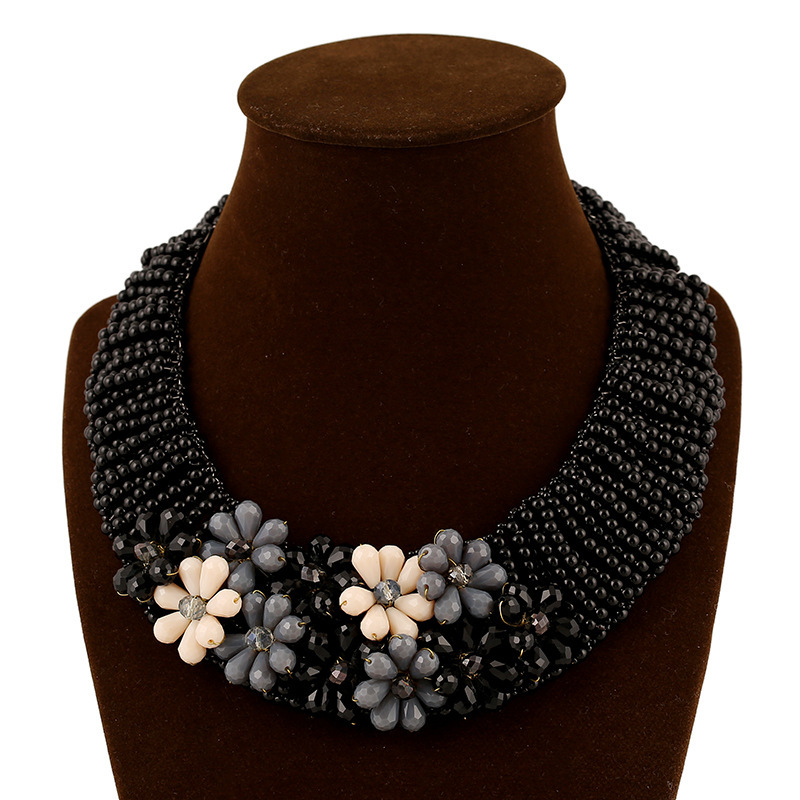 Exaggerated fashion handmade retro black Bohemian beads flowers crystal Statement Bib Necklace Jewelry  -  EEL jewelry store store
