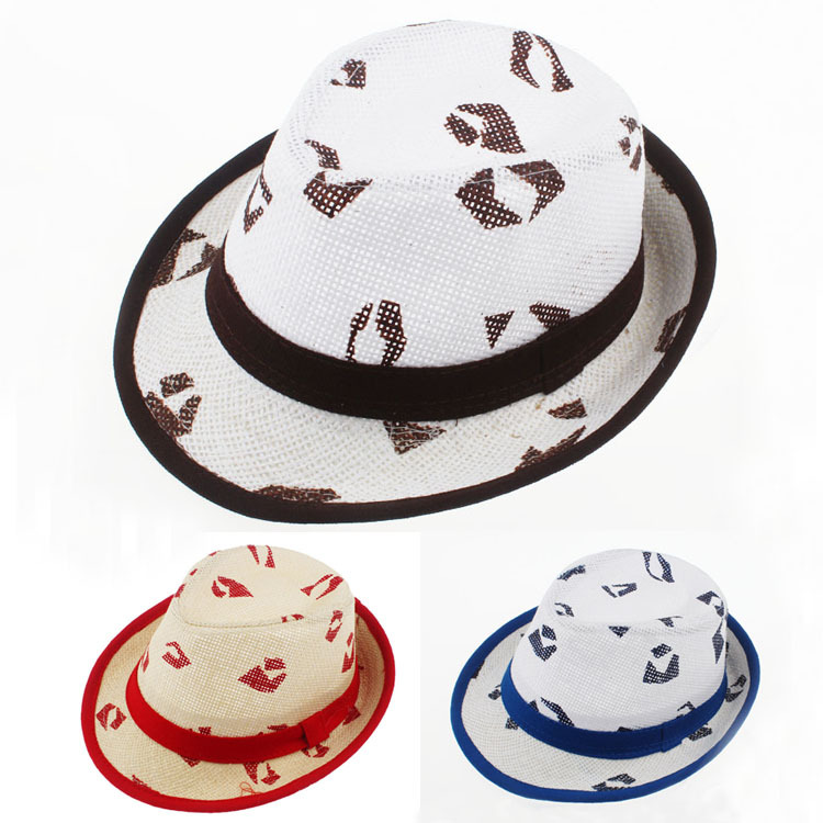 Mixed Colors Order Boys and Girls Hiphop Cool Stage Show Jazz Caps Children Summer Lips Print Fedora Hats 52cm for Kid 2-5Y(China (Mainland))