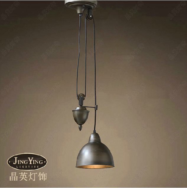 Nodic America vinage industry loft RH style rustic Lifting pulley antique copper pendant lamp to decorate the study room(China (Mainland))