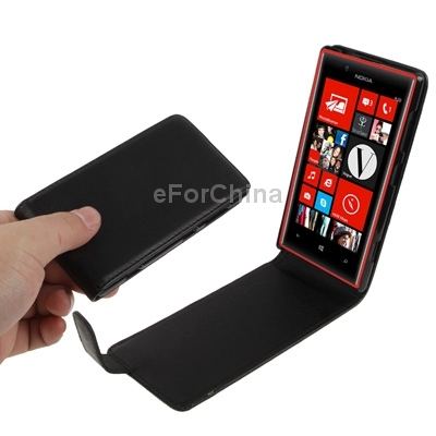 HOT Black pure color vertical flip leather phone case for Nokia lumia 720