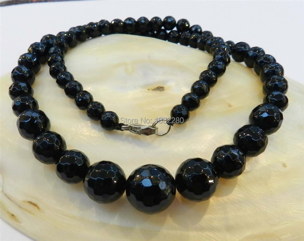 """Free shipping! Wholesale Faceted 6-14mm Black Agate Round Onyx Gems Beads Necklace 18"""" JT5442(China (Mainland))"""