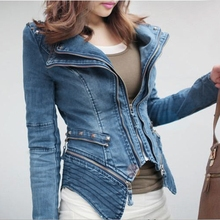New Arrival Fashion Vintage Denim Jacket Women Motorcycle Jeans Coat Punk Spike Studded Shrug Shoulder Chaquetas