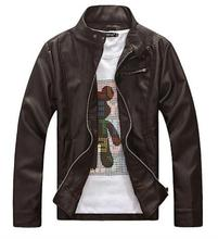 Men Leather Jacket Coat Fashion Brand Spring and Autumn Stand Collar Zipper Motorcycle Short Jacket For Men Long Sleeve Men Coat(China (Mainland))