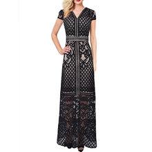 Vfemage женское сексуальное просвечивающее платье с цветочным кружевом и кружевным подолом, с рукавом-крылышком, вечернее платье, вечерние пла...(China)