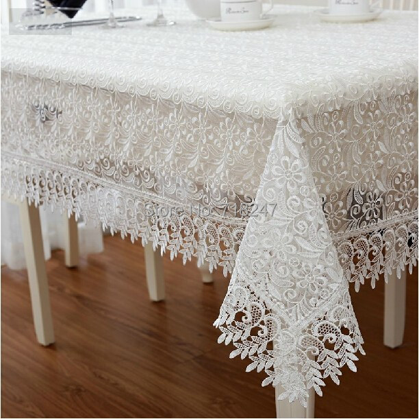 White High Quality Elegant Polyester Satin Full Lace Tablecloth Wedding Table Cloth Cover Overlays Home Decor Textiles XYS012(China (Mainland))