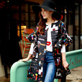Original New 2016 Brand Spring Plus Size Loose Fashion Casual Ruffled Sleeved Black Printed Trench Coat