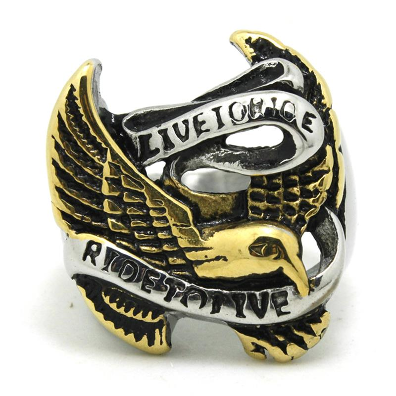 316L Stainless Steel Cool Golden Silver Eagle Ride to Live Biker Ring(China (Mainland))