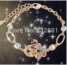 Hot New 2016 Fashion Imitated Diamond Swan Female Models Bracelet gold plated plated Jewelry Accessories Bangles(China (Mainland))