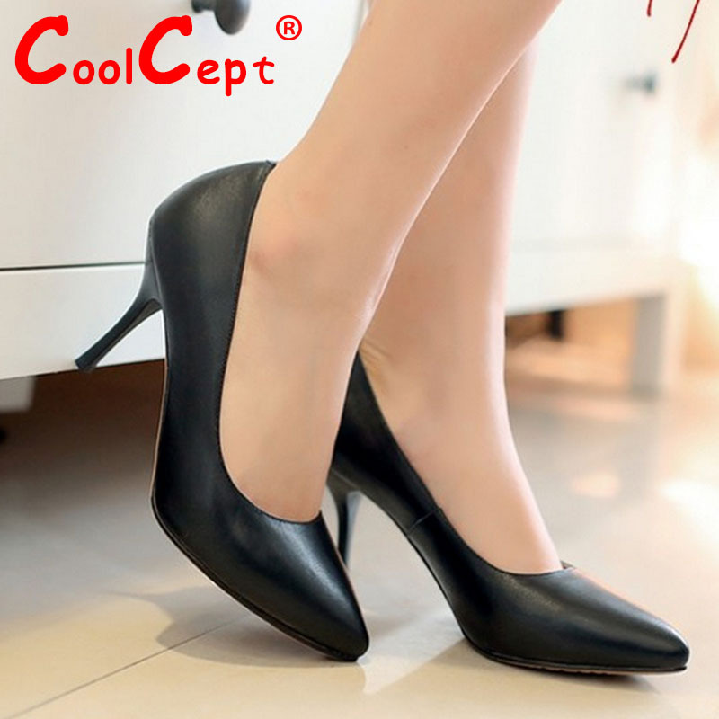 women real genuine leather stiletto pointed toe high heel shoes brand sexy fashion pumps ladies heeled shoes size 33-40 R5949<br><br>Aliexpress
