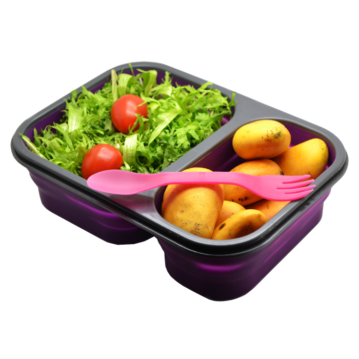 silicone folding boxes portable lunch box outdoor picnic child double - Shenzhen Siming International Co., Ltd. store