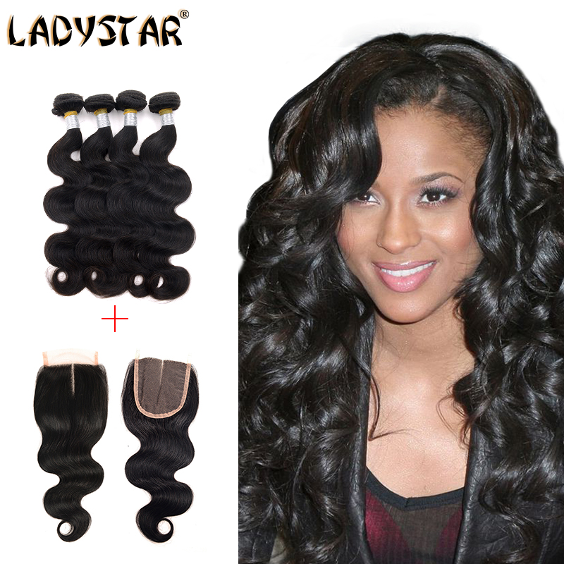 Peruvian Virgin Hair With Closure, 7A Unprocessed Body Wave 3 Bundles With Lace Base Closure, Healthy Human Hair No Chemical